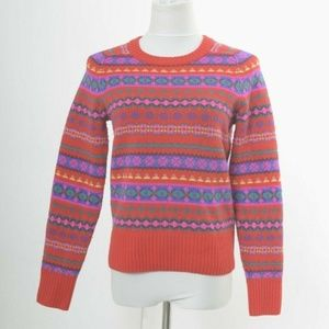 J. Crew Small Holly Sweater in Fair Isle Red Wool